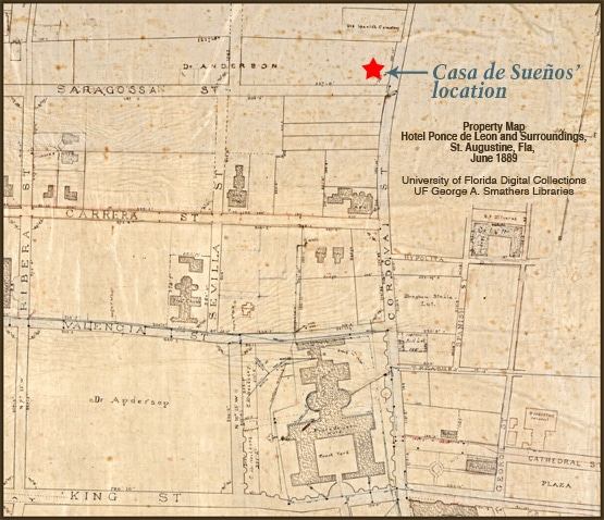 Historic Map of properties around the Ponce de Leon Hotel