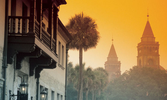 Fog reveals the Government House and one of Flagler College's towers