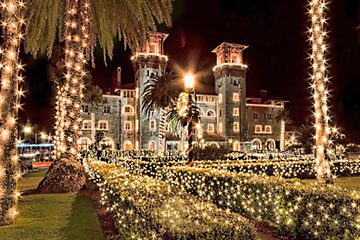 Lightner Museum with holiday lights