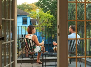 Couple on their private room balcony